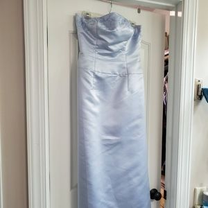Blue silver strapless formal prom dress